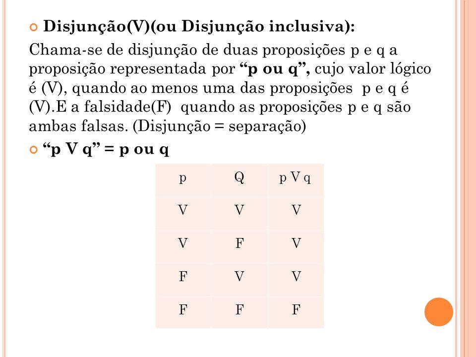 """Disjunção(V)(ou Disjunção inclusiva): Chama-se de disjunção de duas proposições p e q a proposição representada por """"p ou q"""", cujo valor lógico é (V),"""