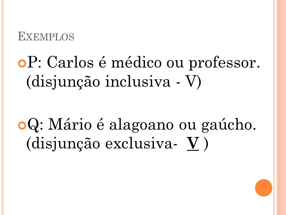 E XEMPLOS P: Carlos é médico ou professor. (disjunção inclusiva - V) Q: Mário é alagoano ou gaúcho. (disjunção exclusiva- V )