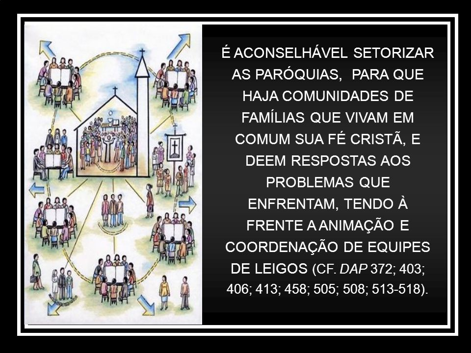 É ACONSELHÁVEL SETORIZAR AS PARÓQUIAS, PARA QUE HAJA COMUNIDADES DE FAMÍLIAS QUE VIVAM EM COMUM SUA FÉ CRISTÃ, E DEEM RESPOSTAS AOS PROBLEMAS QUE ENFR