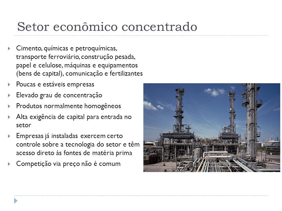 Setor econômico concentrado  Cimento, químicas e petroquímicas, transporte ferroviário, construção pesada, papel e celulose, máquinas e equipamentos