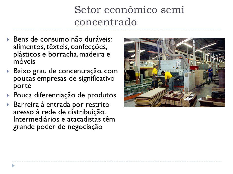 Setor econômico semi concentrado  Bens de consumo não duráveis: alimentos, têxteis, confecções, plásticos e borracha, madeira e móveis  Baixo grau d