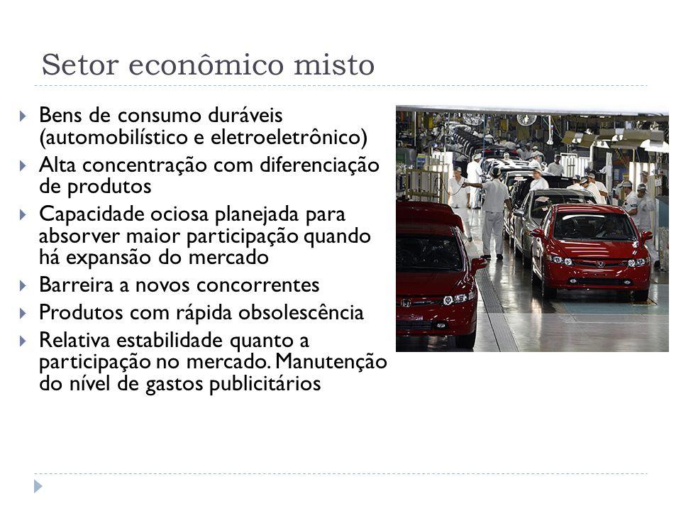 Setor econômico misto  Bens de consumo duráveis (automobilístico e eletroeletrônico)  Alta concentração com diferenciação de produtos  Capacidade o
