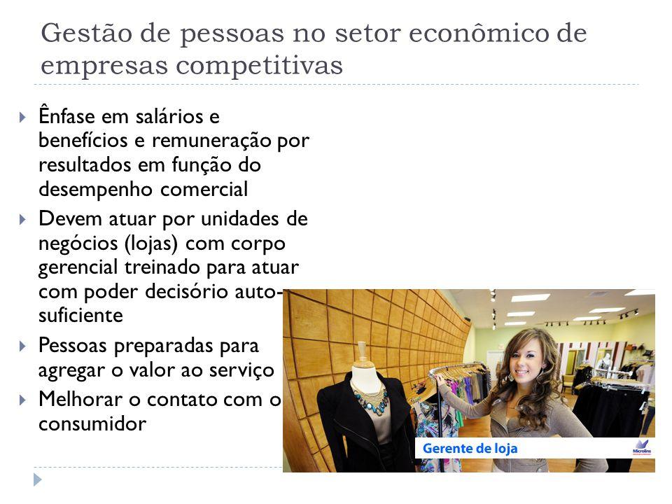 Gestão de pessoas no setor econômico de empresas competitivas  Ênfase em salários e benefícios e remuneração por resultados em função do desempenho c