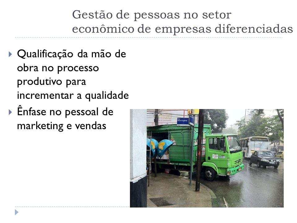 Gestão de pessoas no setor econômico de empresas diferenciadas  Qualificação da mão de obra no processo produtivo para incrementar a qualidade  Ênfa