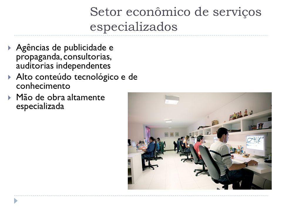 Setor econômico de serviços especializados  Agências de publicidade e propaganda, consultorias, auditorias independentes  Alto conteúdo tecnológico