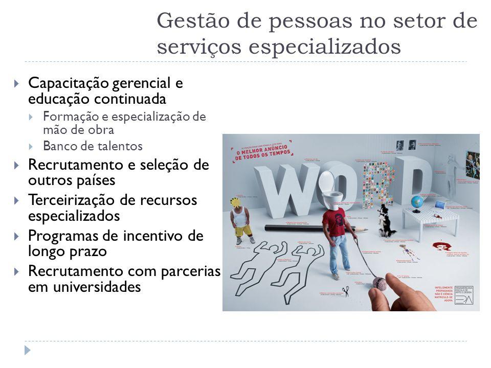 Gestão de pessoas no setor de serviços especializados  Capacitação gerencial e educação continuada  Formação e especialização de mão de obra  Banco