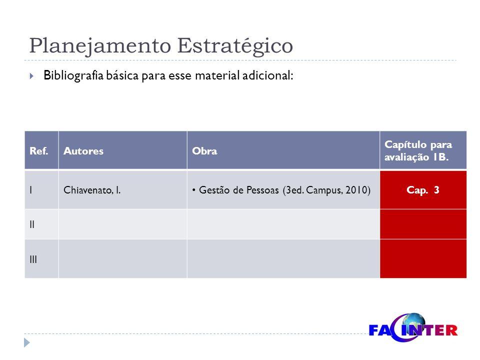 Planejamento Estratégico  Bibliografia básica para esse material adicional: Ref.AutoresObra Capítulo para avaliação 1B. IChiavenato, I. Gestão de Pes
