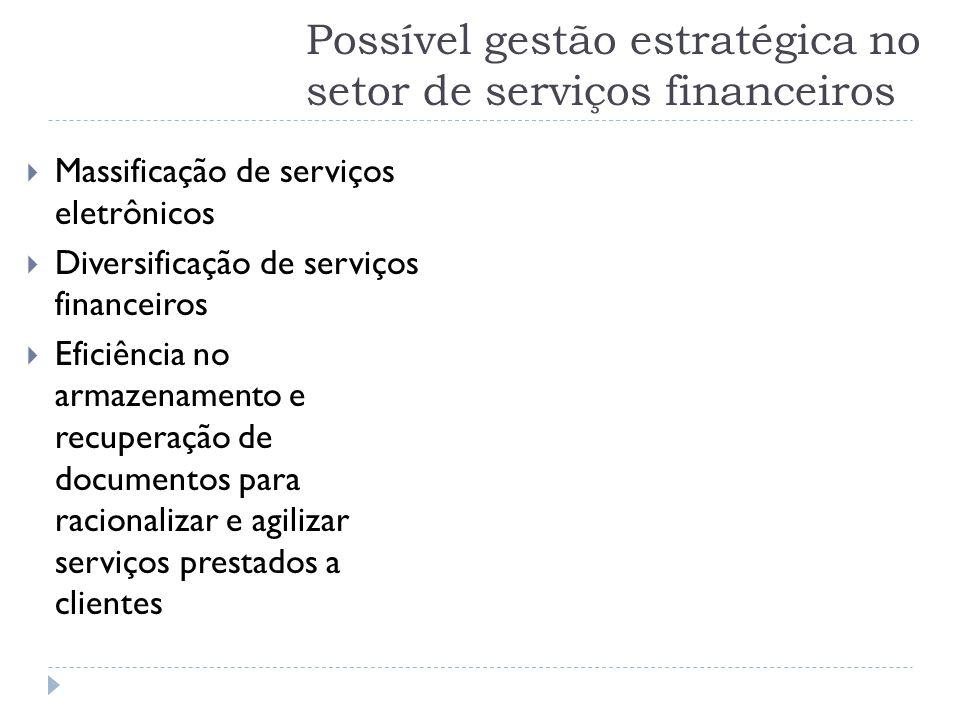 Possível gestão estratégica no setor de serviços financeiros  Massificação de serviços eletrônicos  Diversificação de serviços financeiros  Eficiên