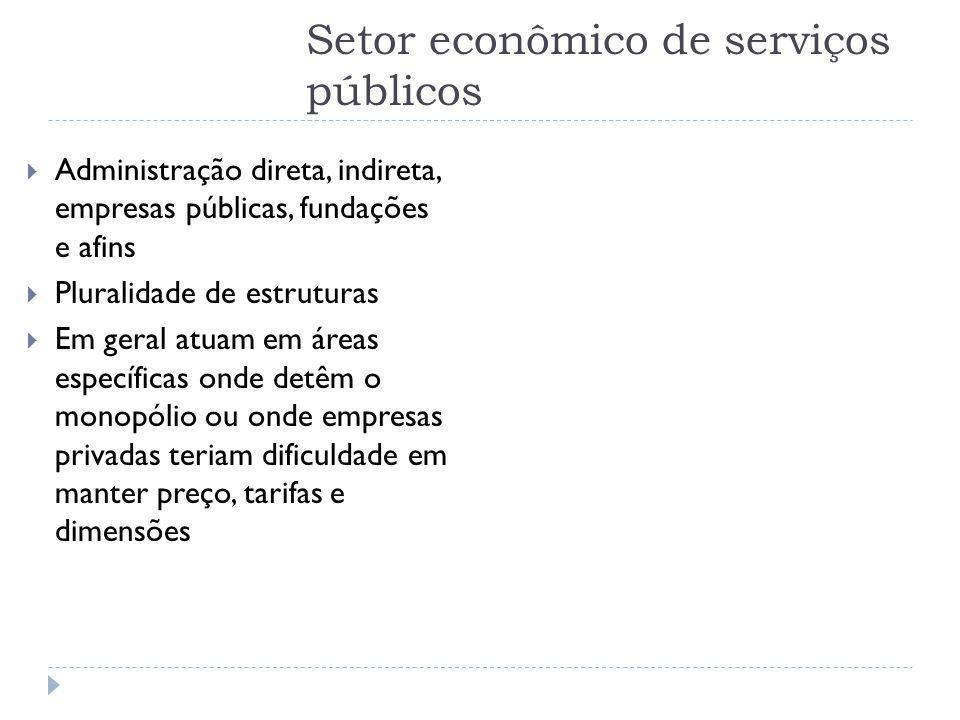 Setor econômico de serviços públicos  Administração direta, indireta, empresas públicas, fundações e afins  Pluralidade de estruturas  Em geral atu