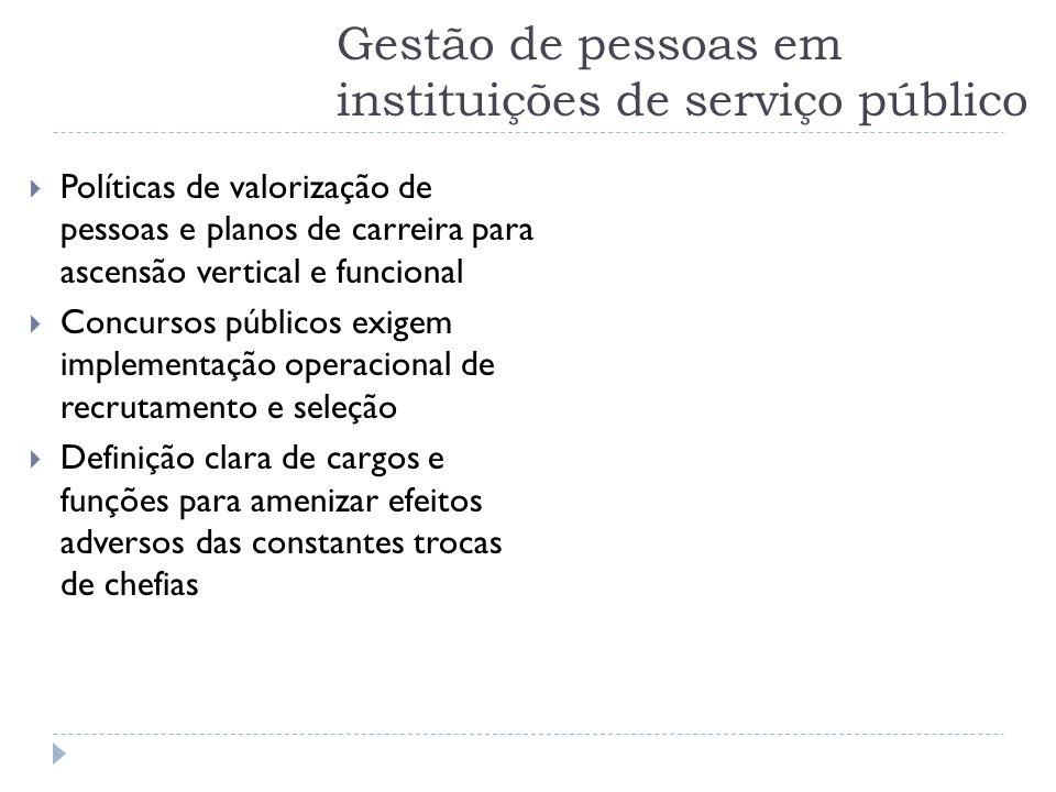 Gestão de pessoas em instituições de serviço público  Políticas de valorização de pessoas e planos de carreira para ascensão vertical e funcional  C