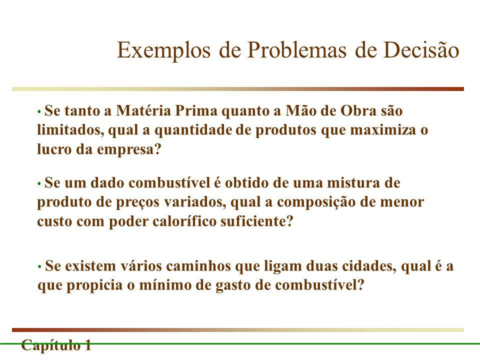 Capítulo 1 Exemplos de Problemas de Decisão Se existem vários caminhos que ligam duas cidades, qual é a que propicia o mínimo de gasto de combustível?
