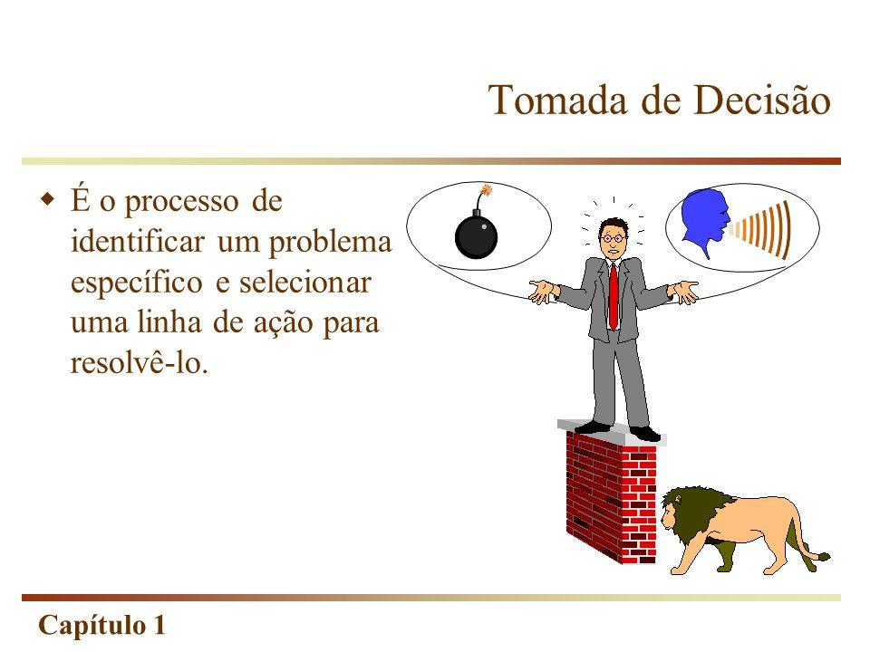 Capítulo 1 Tomada de Decisão  É o processo de identificar um problema específico e selecionar uma linha de ação para resolvê-lo.