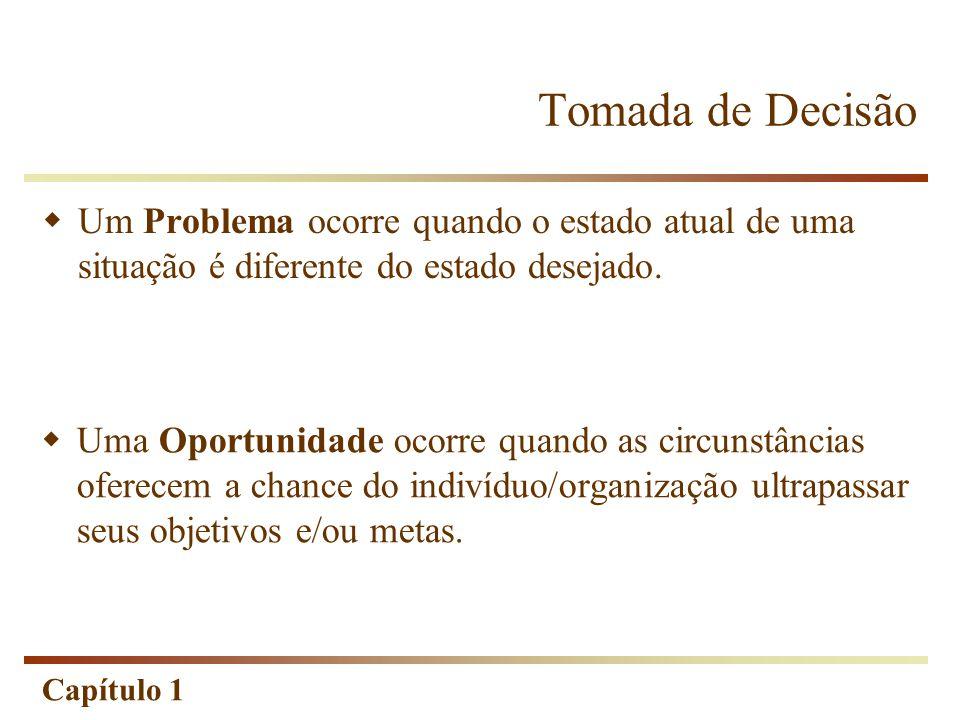 Capítulo 1 Tomada de Decisão  Um Problema ocorre quando o estado atual de uma situação é diferente do estado desejado.  Uma Oportunidade ocorre quan