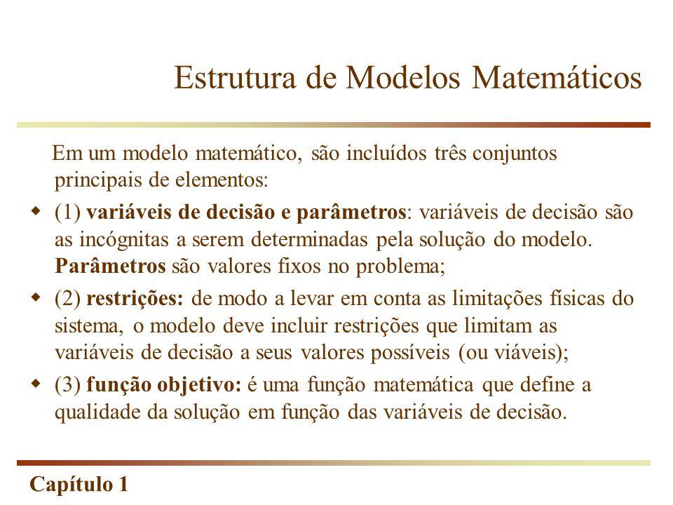 Capítulo 1 Em um modelo matemático, são incluídos três conjuntos principais de elementos:  (1) variáveis de decisão e parâmetros: variáveis de decisã