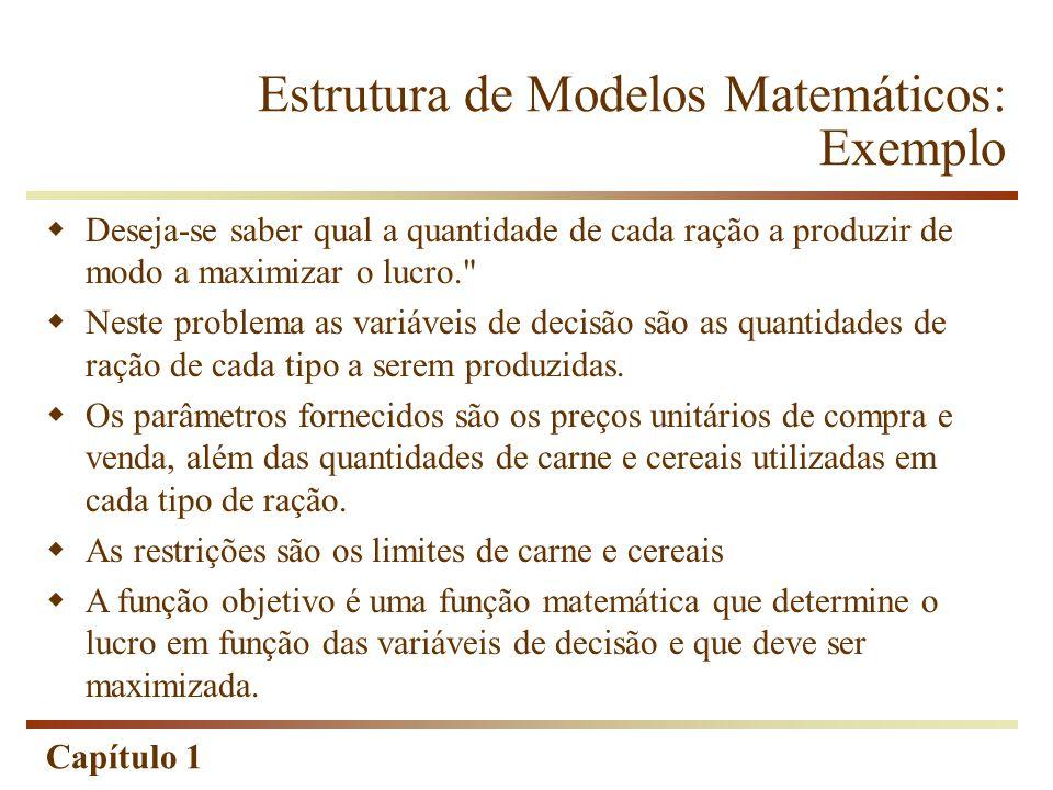 Capítulo 1  Deseja-se saber qual a quantidade de cada ração a produzir de modo a maximizar o lucro.