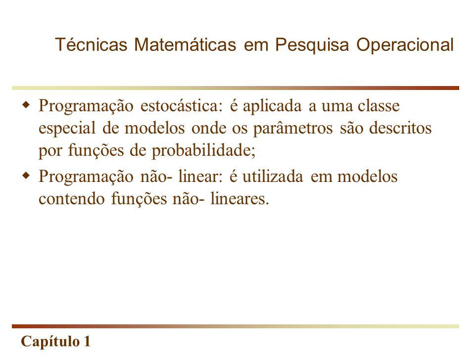 Capítulo 1  Programação estocástica: é aplicada a uma classe especial de modelos onde os parâmetros são descritos por funções de probabilidade;  Pro
