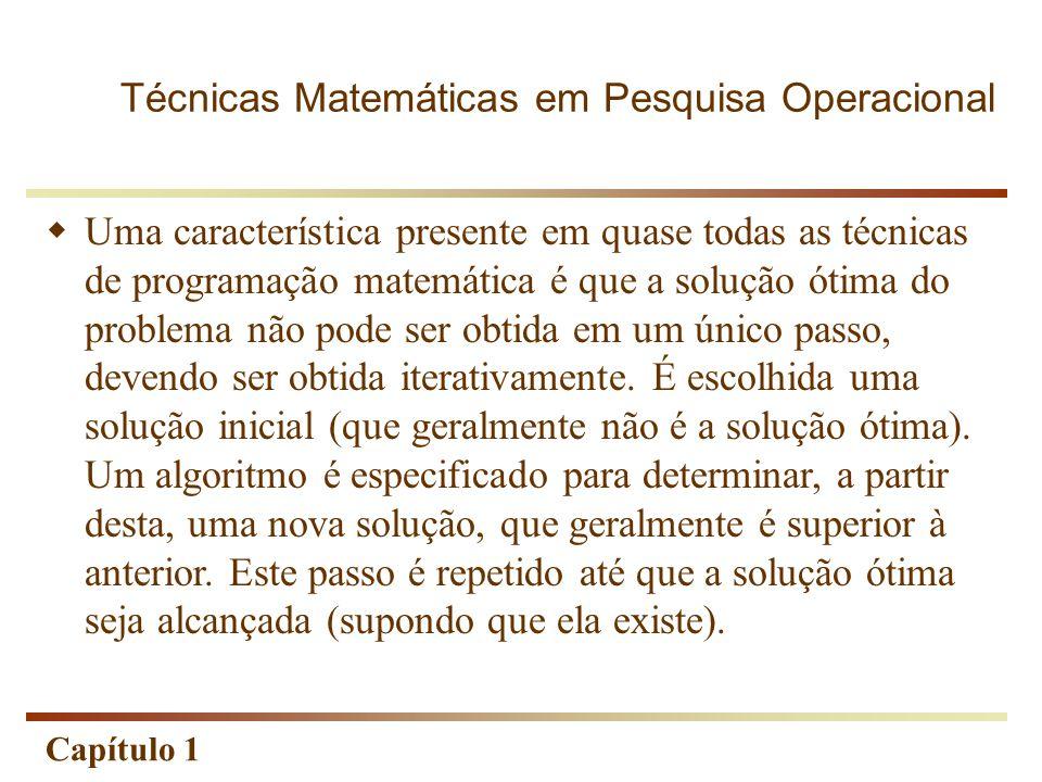 Capítulo 1  Uma característica presente em quase todas as técnicas de programação matemática é que a solução ótima do problema não pode ser obtida em