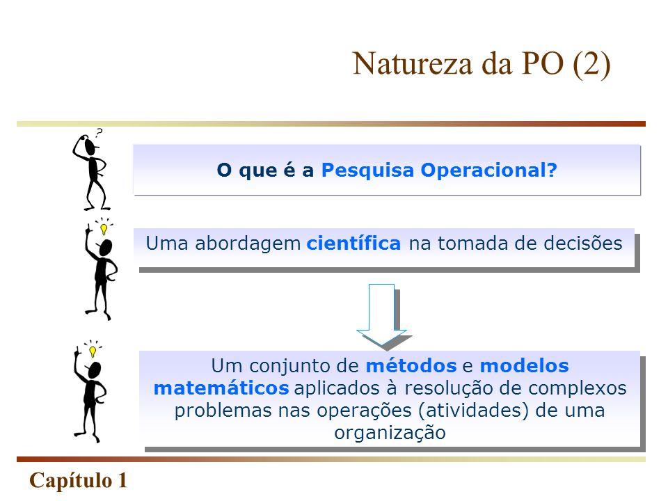 Capítulo 1 Uma abordagem científica na tomada de decisões O que é a Pesquisa Operacional? Um conjunto de métodos e modelos matemáticos aplicados à res