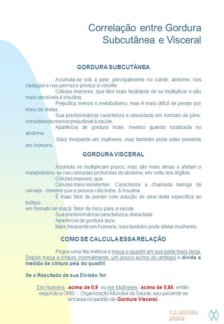 Ir p/ primeira página Correlação entre Gordura Subcutânea e Visceral GORDURA SUBCUTÂNEA Acumula-se sob a pele, principalmente no culote, abdome, nas nádegas e nas pernas e produz a celulite.