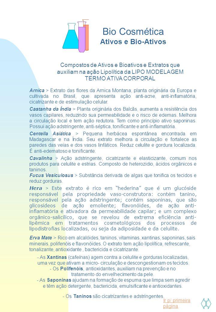 Ir p/ primeira página Compostos de Ativos e Bioativos e Extratos que auxiliam na ação Lipolítica da LIPO MODELAGEM TERMO ATIVA CORPORAL Arnica > Extra