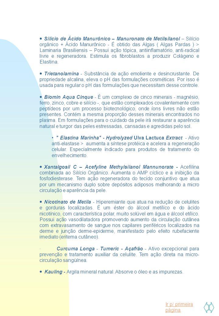 Ir p/ primeira página  Silício de Ácido Manurônico – Manuronato de Metilsilanol – Silício orgânico + Ácido Manurônico - É obtido das Algas ( Algas Pa