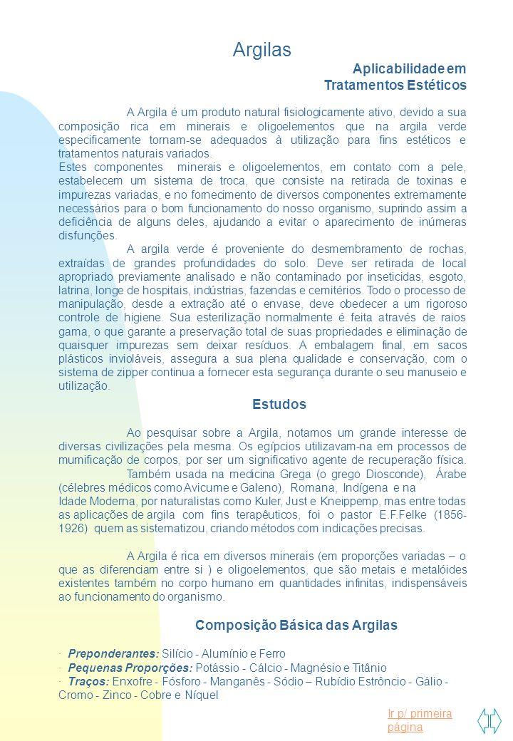 Ir p/ primeira página Argilas Aplicabilidade em Tratamentos Estéticos A Argila é um produto natural fisiologicamente ativo, devido a sua composição ri