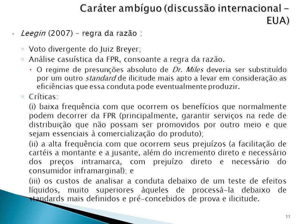 Leegin (2007) – regra da razão : ◦ Voto divergente do Juiz Breyer; ◦ Análise casuística da FPR, consoante a regra da razão.  O regime de presunções a