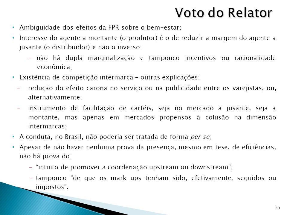 Ambiguidade dos efeitos da FPR sobre o bem-estar; Interesse do agente a montante (o produtor) é o de reduzir a margem do agente a jusante (o distribui