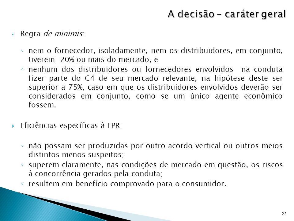 Regra de minimis: ◦ nem o fornecedor, isoladamente, nem os distribuidores, em conjunto, tiverem 20% ou mais do mercado, e ◦ nenhum dos distribuidores