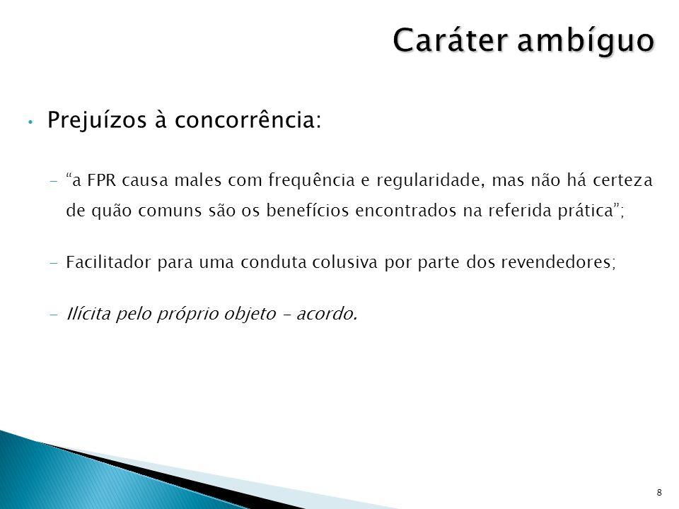 """Prejuízos à concorrência: -""""a FPR causa males com frequência e regularidade, mas não há certeza de quão comuns são os benefícios encontrados na referi"""