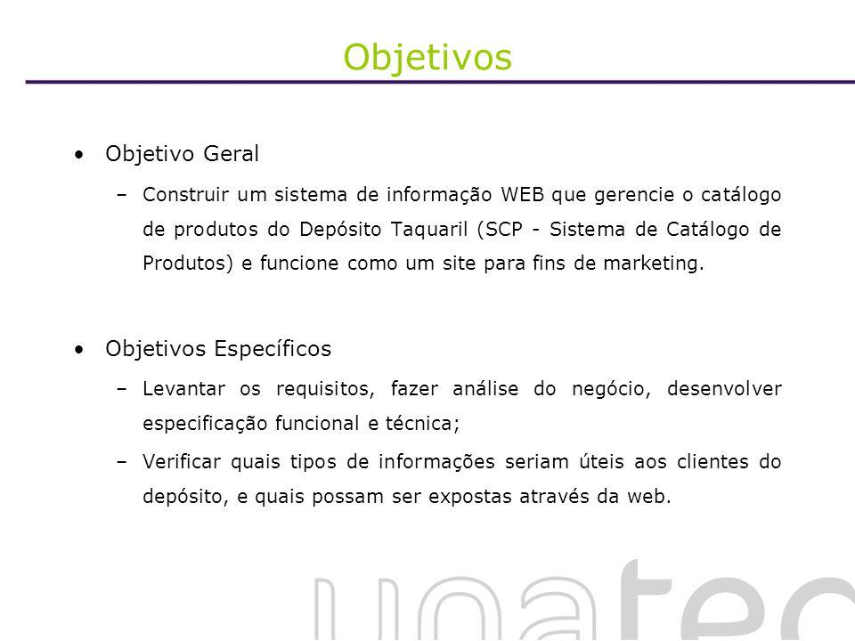 Objetivos Objetivo Geral –Construir um sistema de informação WEB que gerencie o catálogo de produtos do Depósito Taquaril (SCP - Sistema de Catálogo d