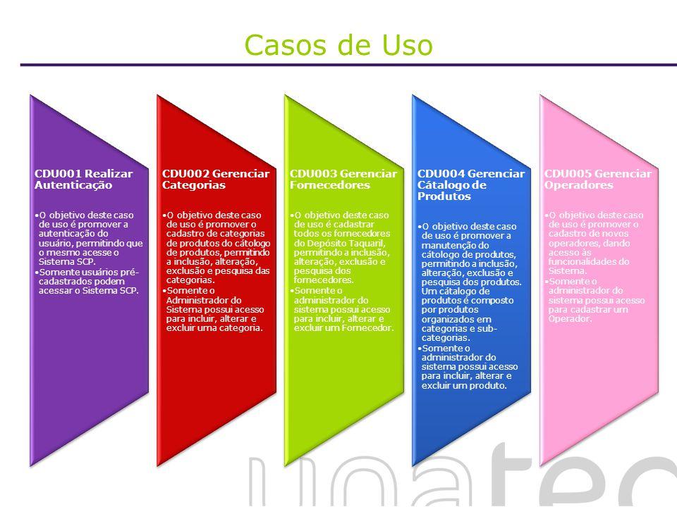 Casos de Uso CDU001 Realizar Autenticação O objetivo deste caso de uso é promover a autenticação do usuário, permitindo que o mesmo acesse o Sistema S