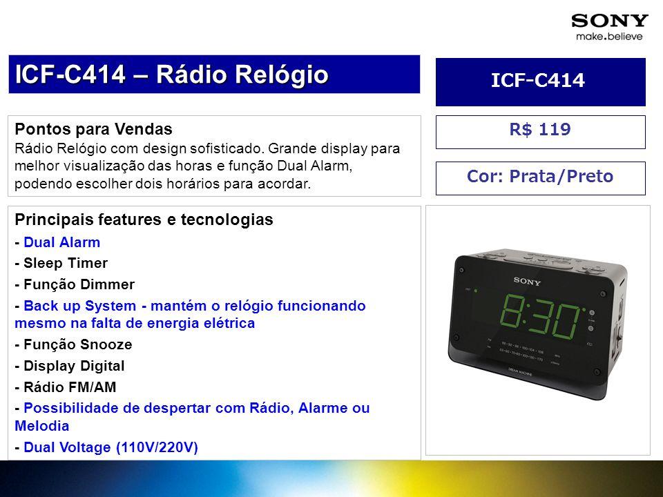 Pontos para Vendas Rádio Relógio com design sofisticado. Grande display para melhor visualização das horas e função Dual Alarm, podendo escolher dois