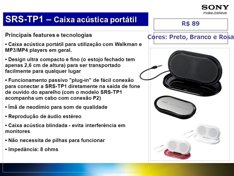 Principais features e tecnologias Caixa acústica portátil para utilização com Walkman e MP3/MP4 players em geral. Design ultra compacto e fino (o esto