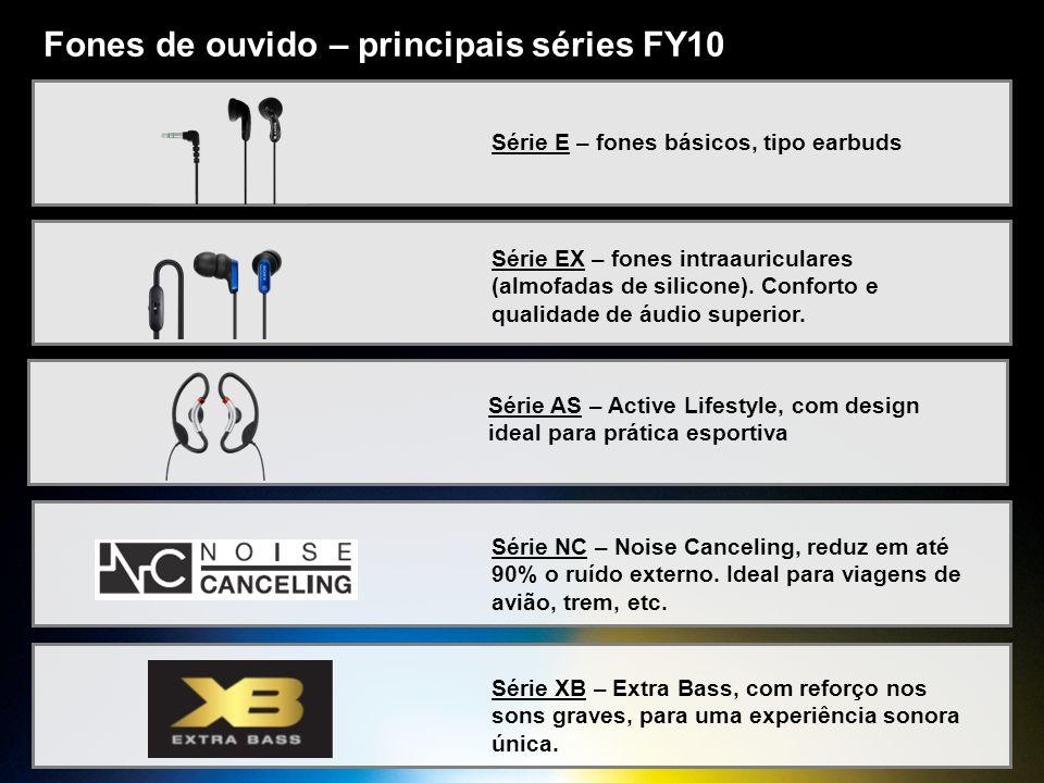 Fones de ouvido – principais séries FY10 Série E – fones básicos, tipo earbuds Série EX – fones intraauriculares (almofadas de silicone). Conforto e q