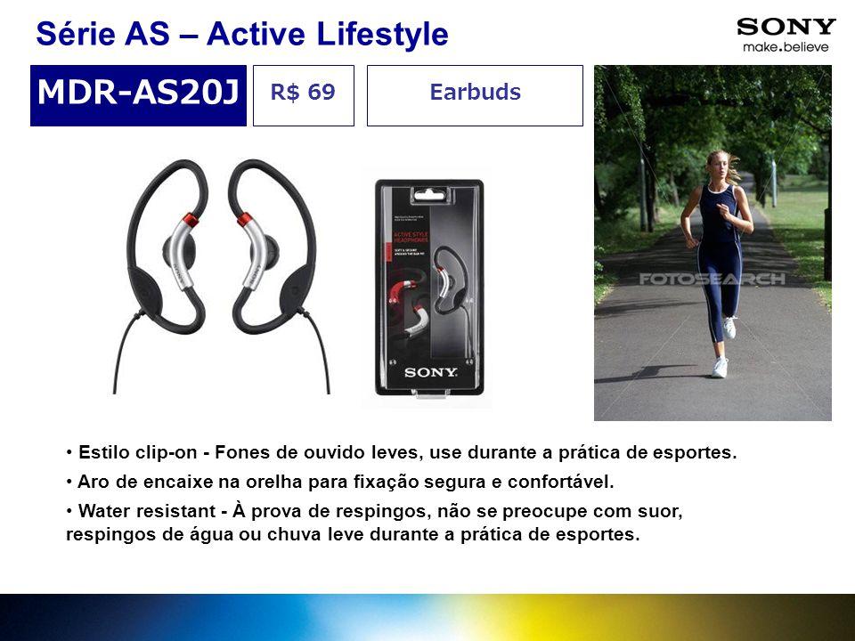 R$ 69 MDR-AS20J Earbuds Série AS – Active Lifestyle Estilo clip-on - Fones de ouvido leves, use durante a prática de esportes. Aro de encaixe na orelh