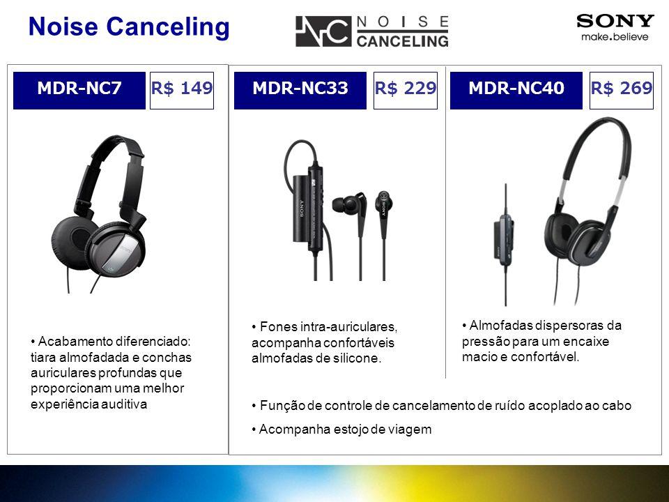 R$ 229MDR-NC33 Noise Canceling MDR-NC40R$ 269 Almofadas dispersoras da pressão para um encaixe macio e confortável. Fones intra-auriculares, acompanha
