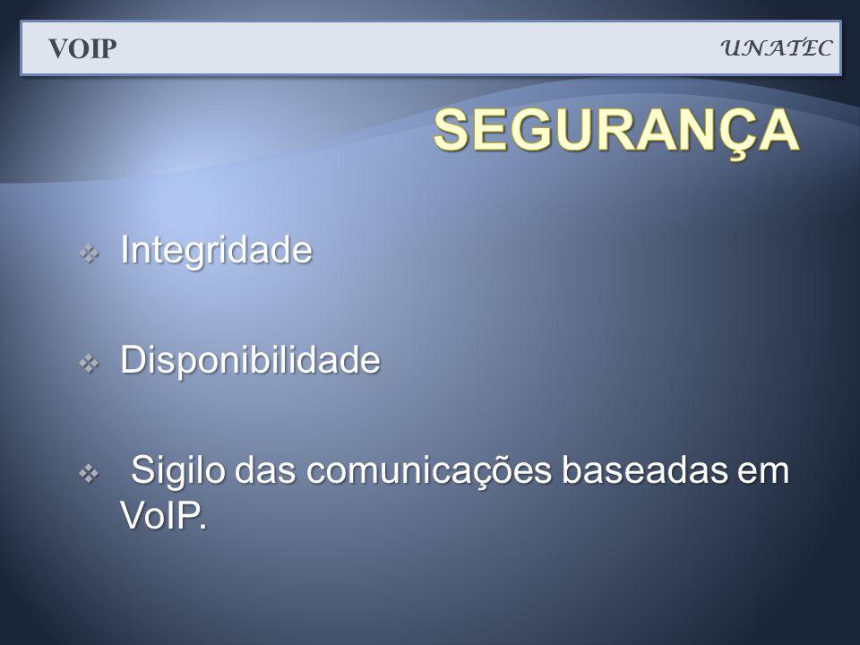  Integridade  Disponibilidade  Sigilo das comunicações baseadas em VoIP. UNATEC VOIP