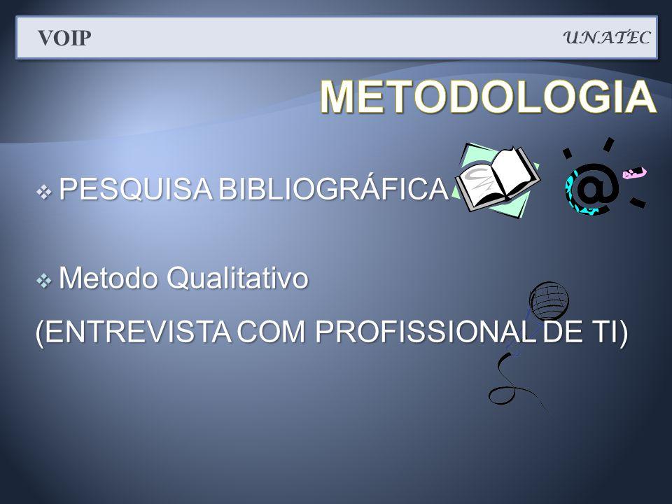  PESQUISA BIBLIOGRÁFICA  Metodo Qualitativo (ENTREVISTA COM PROFISSIONAL DE TI) UNATEC VOIP