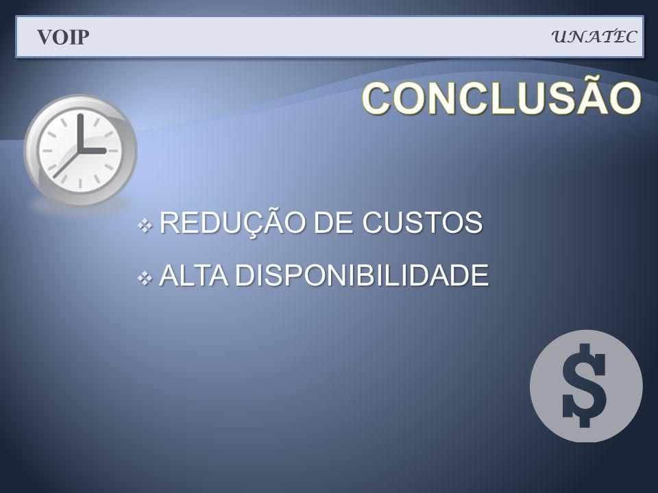  REDUÇÃO DE CUSTOS  ALTA DISPONIBILIDADE UNATEC VOIP