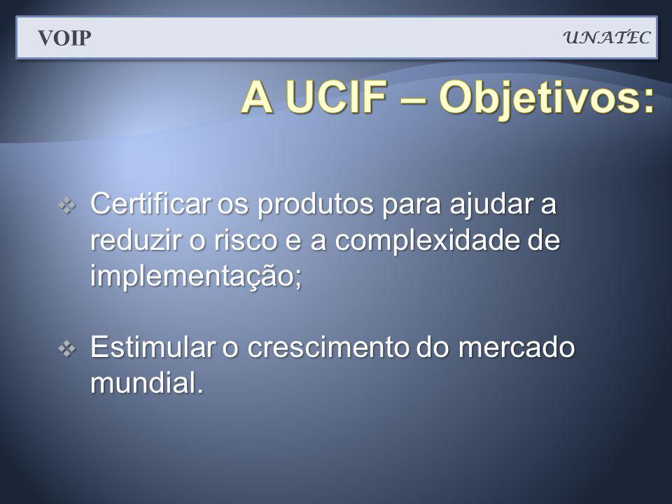  Certificar os produtos para ajudar a reduzir o risco e a complexidade de implementação;  Estimular o crescimento do mercado mundial. UNATEC VOIP