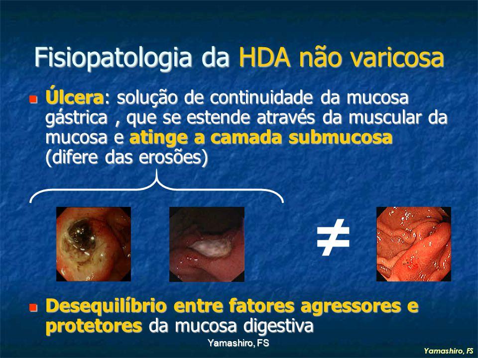 Yamashiro, FS Fisiopatologia da HDA não varicosa Úlcera: solução de continuidade da mucosa gástrica, que se estende através da muscular da mucosa e atinge a camada submucosa (difere das erosões) Úlcera: solução de continuidade da mucosa gástrica, que se estende através da muscular da mucosa e atinge a camada submucosa (difere das erosões) Desequilíbrio entre fatores agressores e protetores da mucosa digestiva Desequilíbrio entre fatores agressores e protetores da mucosa digestiva ≠ Yamashiro, FS