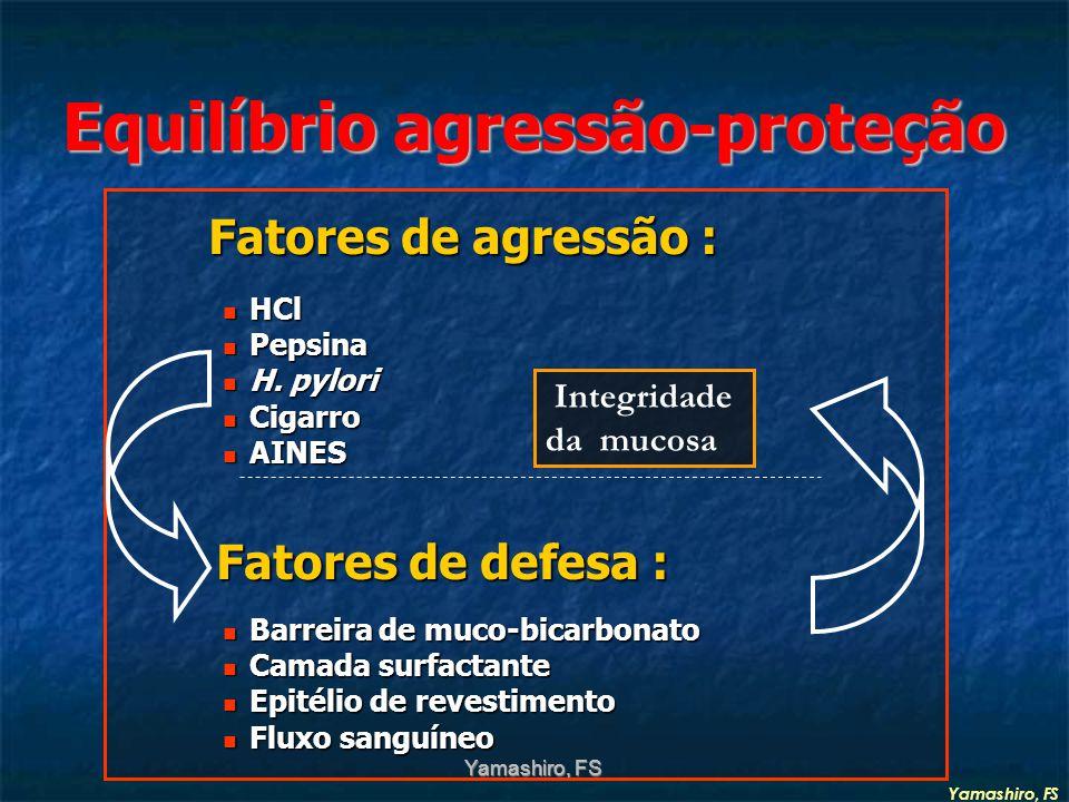 Equilíbrio agressão-proteção Fatores de agressão : Fatores de agressão : HCl HCl Pepsina Pepsina H.