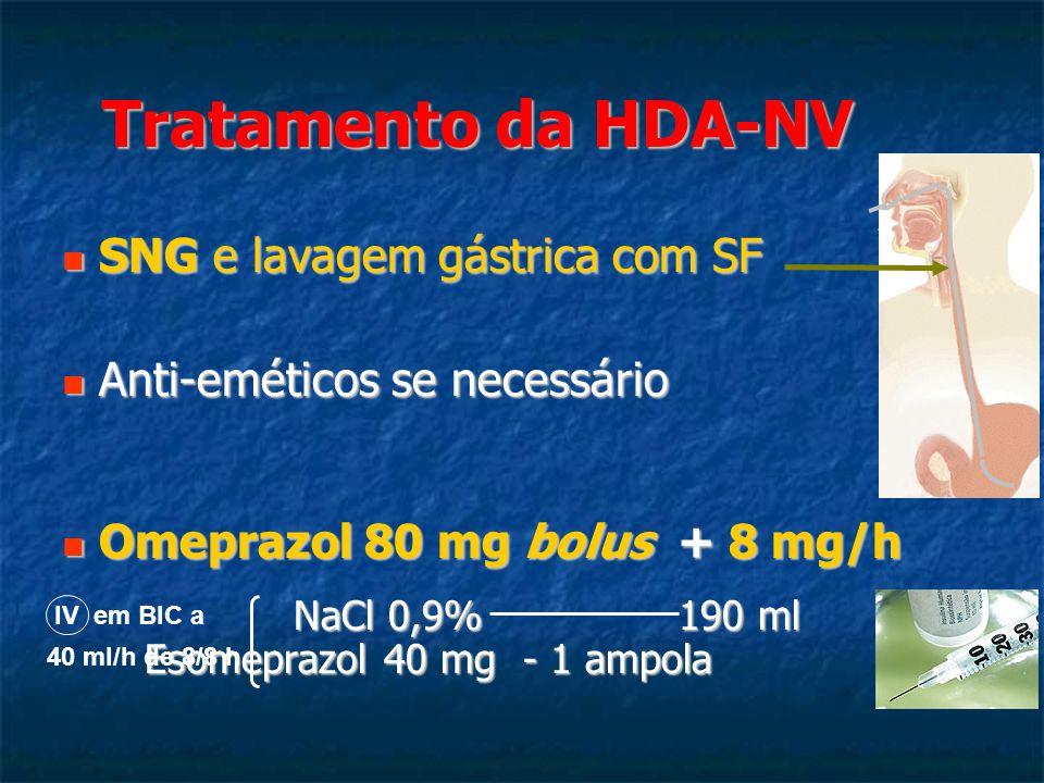 Tratamento da HDA-NV SNG e lavagem gástrica com SF SNG e lavagem gástrica com SF Anti-eméticos se necessário Anti-eméticos se necessário Omeprazol 80 mg bolus + 8 mg/h Omeprazol 80 mg bolus + 8 mg/h NaCl 0,9% 190 ml Esomeprazol 40 mg - 1 ampola NaCl 0,9% 190 ml Esomeprazol 40 mg - 1 ampola IV em BIC a 40 ml/h de 8/8 h