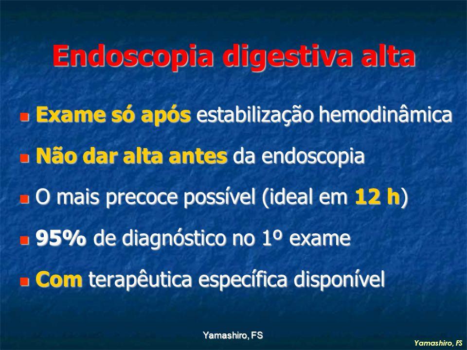 Yamashiro, FS Endoscopia digestiva alta Exame só após estabilização hemodinâmica Exame só após estabilização hemodinâmica Não dar alta antes da endoscopia Não dar alta antes da endoscopia O mais precoce possível (ideal em 12 h) O mais precoce possível (ideal em 12 h) 95% de diagnóstico no 1º exame 95% de diagnóstico no 1º exame Com terapêutica específica disponível Com terapêutica específica disponível Yamashiro, FS
