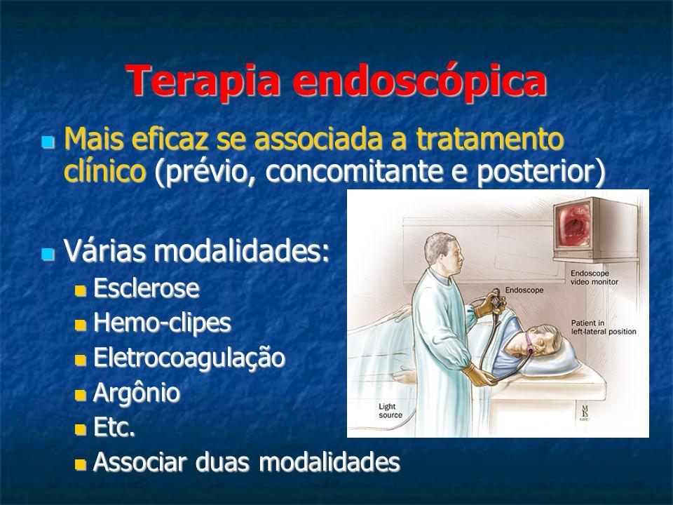 Terapia endoscópica Mais eficaz se associada a tratamento clínico (prévio, concomitante e posterior) Mais eficaz se associada a tratamento clínico (prévio, concomitante e posterior) Várias modalidades: Várias modalidades: Esclerose Esclerose Hemo-clipes Hemo-clipes Eletrocoagulação Eletrocoagulação Argônio Argônio Etc.
