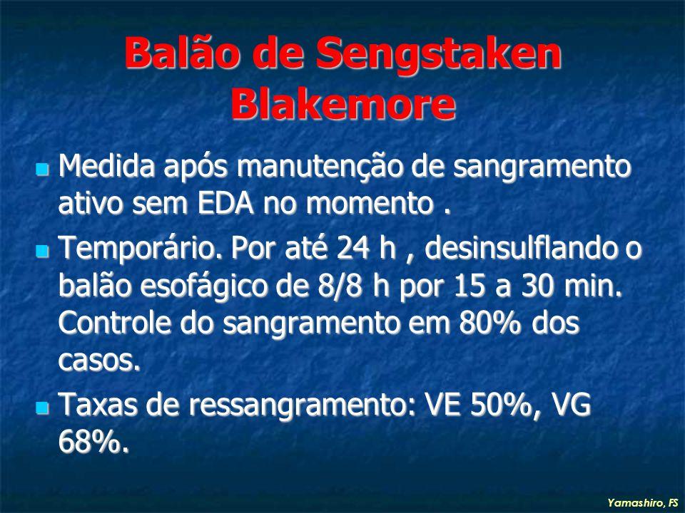 Balão de Sengstaken Blakemore Medida após manutenção de sangramento ativo sem EDA no momento.