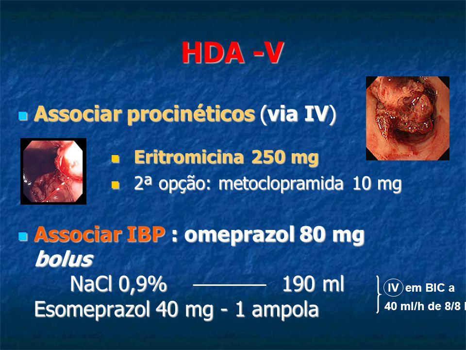 Associar procinéticos (via IV) Associar procinéticos (via IV) Eritromicina 250 mg Eritromicina 250 mg 2ª opção: metoclopramida 10 mg 2ª opção: metoclopramida 10 mg Associar IBP : omeprazol 80 mg bolus NaCl 0,9% 190 ml Esomeprazol 40 mg - 1 ampola Associar IBP : omeprazol 80 mg bolus NaCl 0,9% 190 ml Esomeprazol 40 mg - 1 ampola IV em BIC a 40 ml/h de 8/8 h HDA -V
