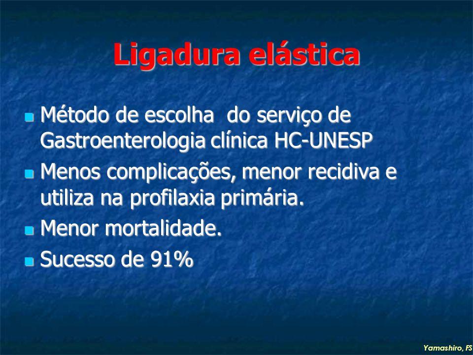 Ligadura elástica Método de escolha do serviço de Gastroenterologia clínica HC-UNESP Método de escolha do serviço de Gastroenterologia clínica HC-UNESP Menos complicações, menor recidiva e utiliza na profilaxia primária.