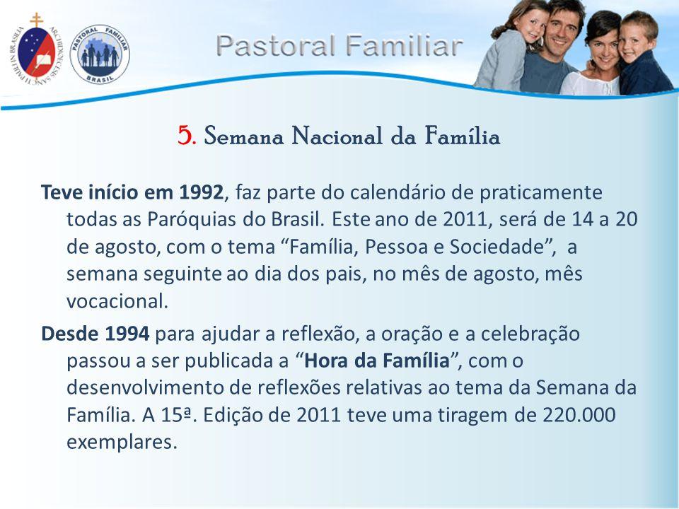 5. Semana Nacional da Família Teve início em 1992, faz parte do calendário de praticamente todas as Paróquias do Brasil. Este ano de 2011, será de 14